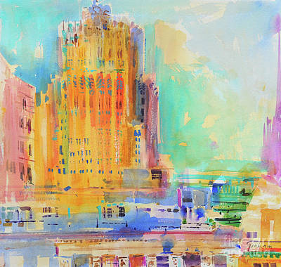Painting - The Shell Building, San Francisco  by Peter Graham