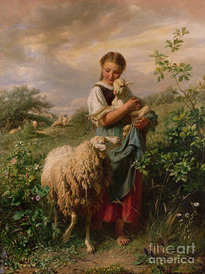 Baby Animal Painting - The Shepherdess by Johann Baptist Hofner