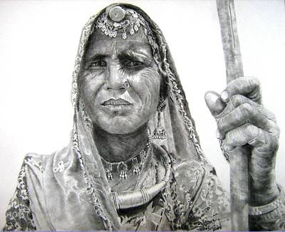 Tribal Women Drawing - The Shepherdess by Mickey Raina