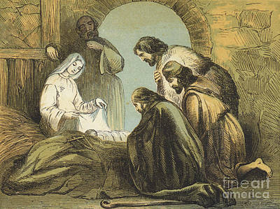 The Shepherds Finding Jesus Print by English School