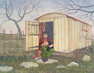 Hurdle Painting - The Shepherd's Hut by Ditz
