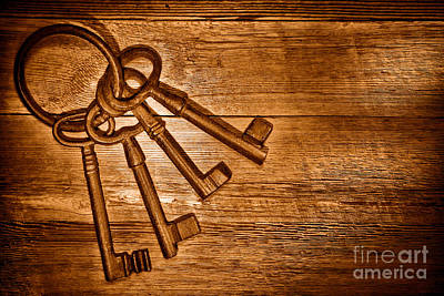 The Sheriff Jail Keys - Sepia Art Print by Olivier Le Queinec
