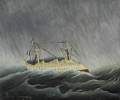 Shower Painting - The Ship In The Tempest by Henri Rousseau