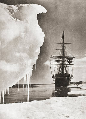 Nova Drawing - The Ship Terra Nova At The South Pole by Vintage Design Pics