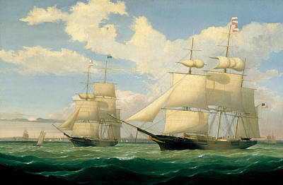 The Ships Winged Arrow And Southern Cross In Boston Harbor Art Print by Fitz Henry Lane