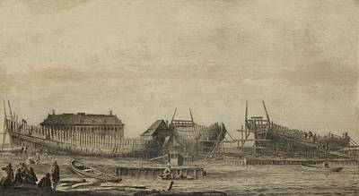 Drawing - The Shipyard Of The Amsterdam Admiralty   Ludolf Bakhuysen  1655   1660 by R Muirhead Art