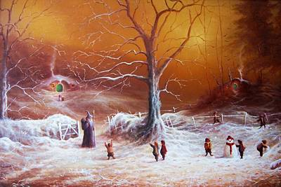 The Shire Painting - The Shire First Snowfall by Joe Gilronan