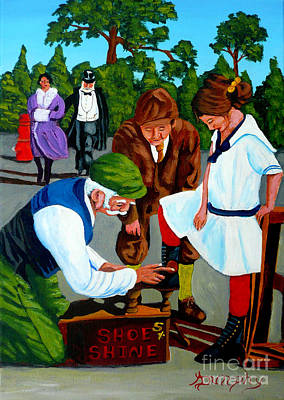 Painting - The Shoe Shine Man by Anthony Dunphy