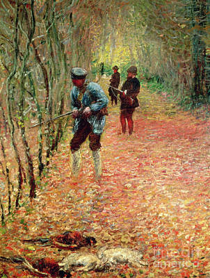 Hunters Painting - The Shoot by Claude Monet