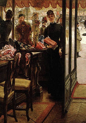 Digital Art - The Shop Girl by James Jacques Joseph Tissot