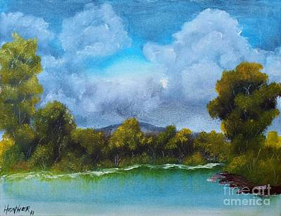 Branch Hill Pond Painting - The Shoreline by Nature's Effects - Heather Seward