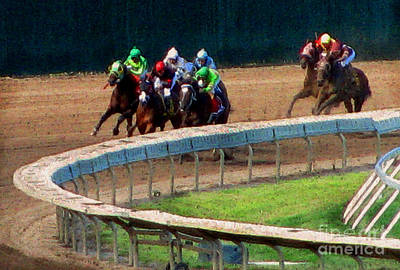 Horse Racing Mixed Media - The Shore's Greatest Stretch by Colleen Kammerer