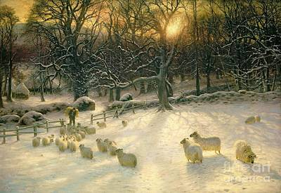Feed Painting - The Shortening Winters Day Is Near A Close by Joseph Farquharson