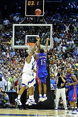 Miami Heat Mixed Media - The Shot, 3.1 Seconds, Mario Chalmers Magic, Kansas Basketball 2008 Ncaa Championship by Thomas Pollart