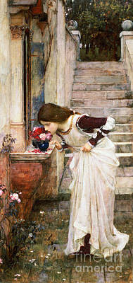 Stairway Painting - The Shrine by John William Waterhouse