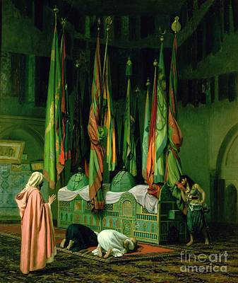 Flags Painting - The Shrine Of Imam Hussein by Jean Leon Gerome