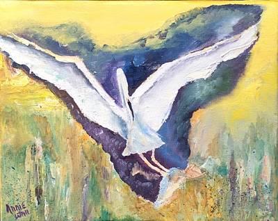 Herron Painting - The Shy Blue Herron by Ann Wall