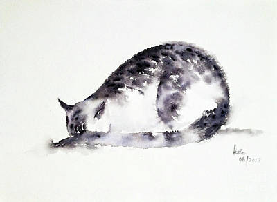 Painting - The Shy Cat by Asha Sudhaker Shenoy