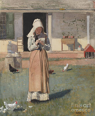 Farm Girl Painting - The Sick Chicken, 1874  by Winslow Homer