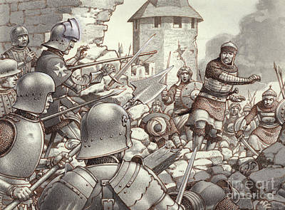 Knights Castle Painting - The Siege Of Rhodes Of 1522  by Pat Nicolle