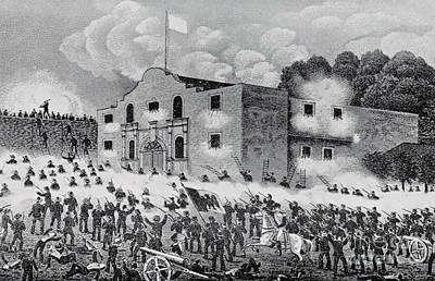 The Alamo Drawing - The Siege Of The Alamo by American School
