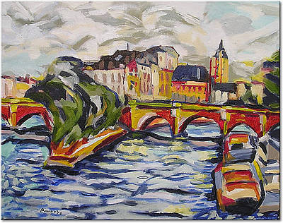 Painting - The Siene At Pont Nuef by Nancy Rourke