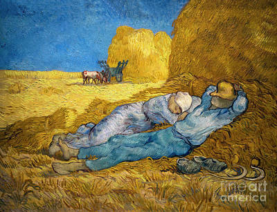The Siesta, After Millet, La Meridienne, La Sieste, By Vincent V Art Print by Peter Barritt