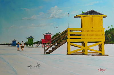 Painting - The Siesta Key Lifeguard Stands by Lloyd Dobson
