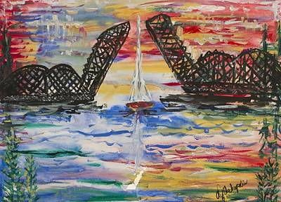 Art Print featuring the painting The Signature Bridge by Andrew J Andropolis