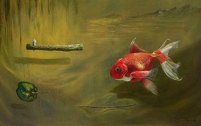 Peeper Painting - The Silent Crying Of A Gold Fish by Marco Cuba-Ricsi
