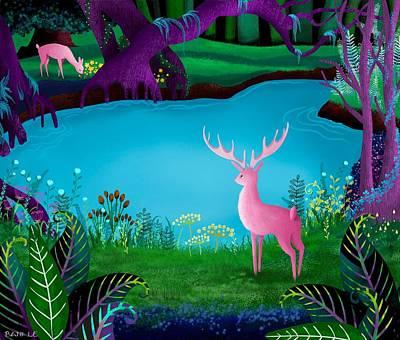 Dee Painting - The Silent Deep Stream Of Greendown Glenn by Little Bunny Sunshine