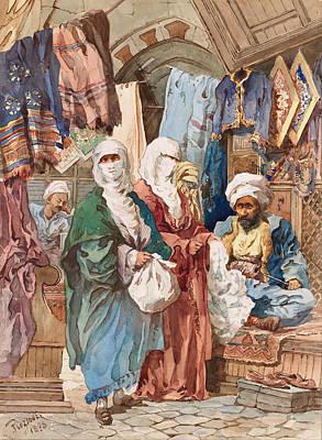 Amedeo Preziosi Painting - The Silk Bazaar by Amedeo Preziosi