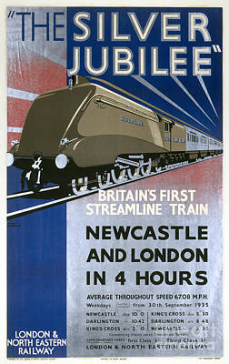 Digital Art - The Silver Jubilee Britains First Streamline Train Lner Poster 1935 by R Muirhead Art
