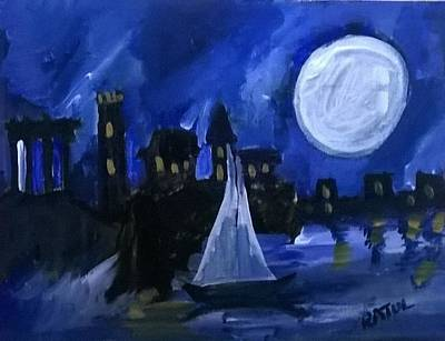 Blue Painting - The Silver Moon And The River.... A Kayak Drifts Along  by Miss Ratul Banerjee