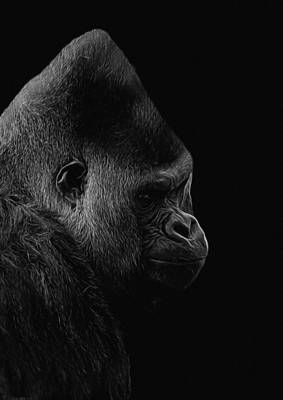 Digital Art - The Silverback Gorilla Bw by Ernie Echols
