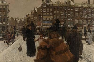 The Singel Bridge At The Paleisstraat In Amsterdam, 1896 Art Print