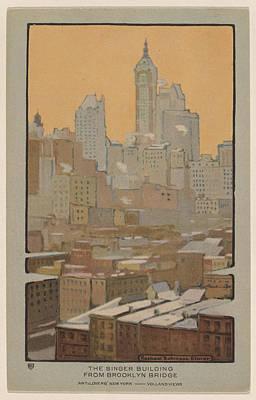 Brooklyn Bridge Drawing - The Singer Building From Brooklyn Bridge by Rachael Robinson Elmer