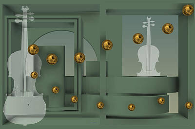 Classical Digital Art - The Singular Song With Gold Balls by Alberto  RuiZ