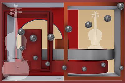Abstract Digital Art - The Singular Song With Silver Balls by Alberto  RuiZ