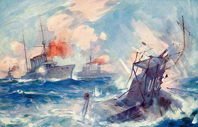 Wwi Drawing - The Sinking Of A German U Boat After Being Rammed By The British Cruiser  by English School