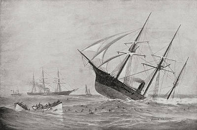 Alabama Drawing - The Sinking Of Css Alabama During The by Vintage Design Pics