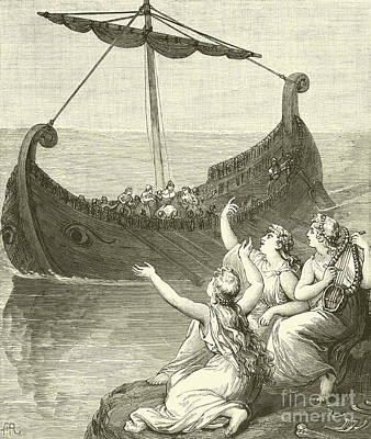 Mermaid Drawing - The Sirens Imploring Ulysses To Stay by English School