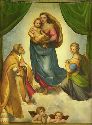 Saint Barbara Wall Art - Painting - The Sistine Madonna by Raphael Sanzio