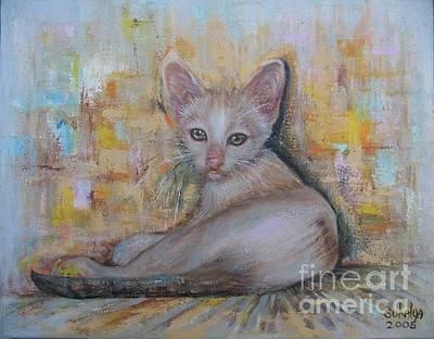 Cat Painting - The Sitting Cat by Sukalya Chearanantana