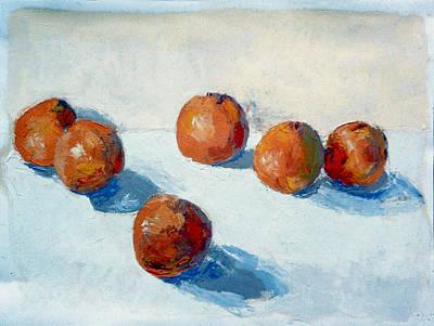Tangerine Painting - The Six Tangerines by David Zimmerman