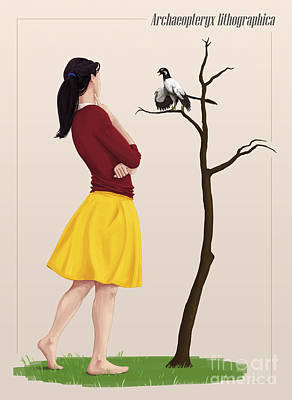 Full Skirt Digital Art - The Size Of An Archaeopteryx Perched by Christian Masnaghetti