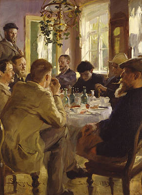 the Skagen Painters eating lunch at Brndum Art Print