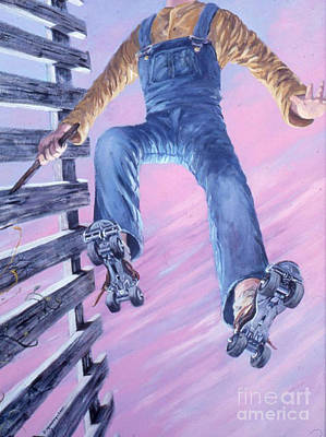 Roller Skating Painting - The Skater by Delores Herringshaw