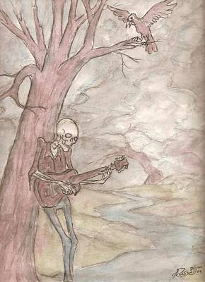 The Skeleton Guitar And The Raven Art Print