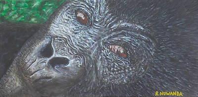 Ape. Great Ape Painting - The Skeptical Gorilla by Robbie Nuwanda